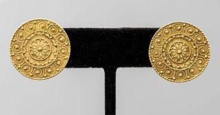 18K Yellow Gold Tribal Granulated Disc Earrings