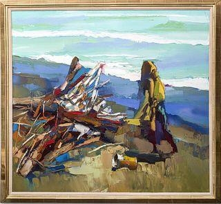 "Nicola Simbari ""Ostia Beach"" Oil on Canvas"