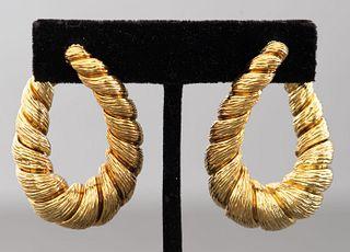 Vintage 18K Yellow Gold Torque Clip Hoop Earrings