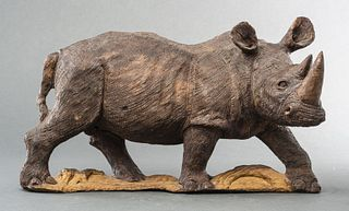 Carved Wood Sculpture of a Rhinoceros