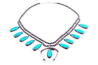 Navajo T. Lewis Silver Turquoise Squash Blossom