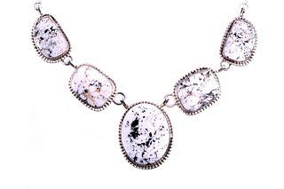 Navajo H. Tsosie Silver White Buffalo Necklace