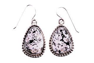 Navajo H. Tsosie Silver White Buffalo Earrings