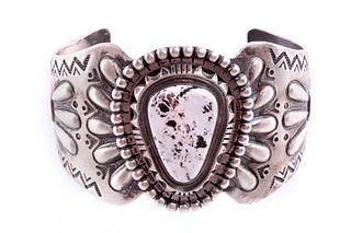 Navajo D. Gordon Silver White Buffalo Bracelet