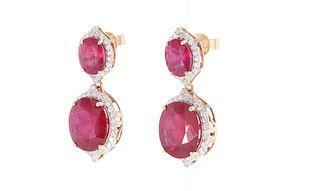 Opulent Ruby & Diamond 14k Yellow Gold Earrings