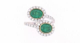 Freeform Emerald & Diamond 18k White Gold Ring