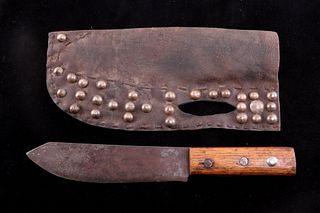 Blackfoot Tacked Leather Sheath & Trade Knife 1890