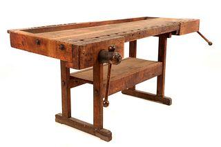 19th Century Wood Carpenter's Workbench w/ Vise