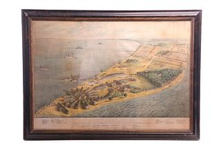 """Edward Sachse """"Point Lookout, Md,"""" Lithograph"""