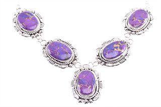 Navajo E. McCray Sterling Silver Sugilite Necklace