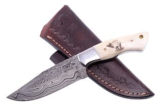 Yellowstone Elk Scrimshaw Damascus M.T. Knives