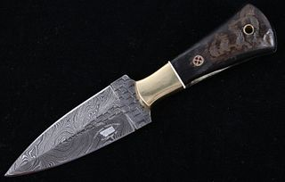 Rams Horn Random Pattern Damascus Bozeman Knife