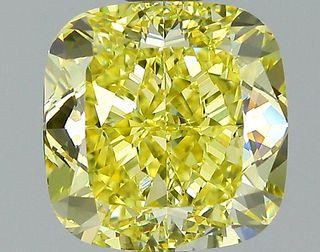 2.28 ct., Fancy Intense Yellow/VS1, Cushion cut diamond, unmounted, GM-0945