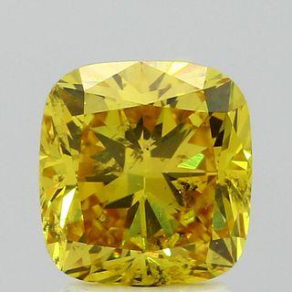 2.09 ct., Fancy Vivid Yellow/SI2, Cushion cut diamond, unmounted, BRD-0831