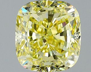 2.02 ct., Fancy Intense Yellow/VVS1, Cushion cut diamond, unmounted, VM-2411