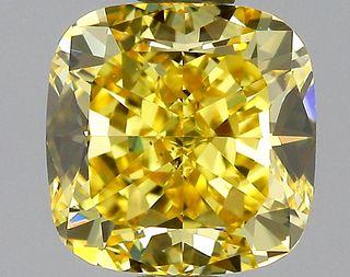 1.42 ct., Fancy Vivid Yellow/VS1, Cushion cut diamond, unmounted, GM-0904