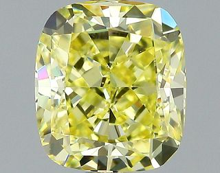 1.35 ct., Fancy Intense Yellow/VS1, Cushion cut diamond, unmounted, GSD-0241