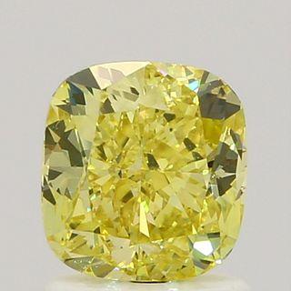 1.23 ct., Fancy Intense Yellow/VVS2, Cushion cut diamond, unmounted, SH-0402