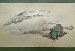 Chu Jianqiu Chinese Painting Fan leaf