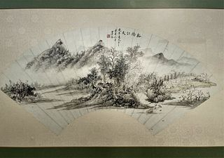 Zhang Mofu Chinese Painting Fan leaf, mounted and framed, ink and colour on paper, H 12 in.(30 cm) W 23 in.(58 cm),????
