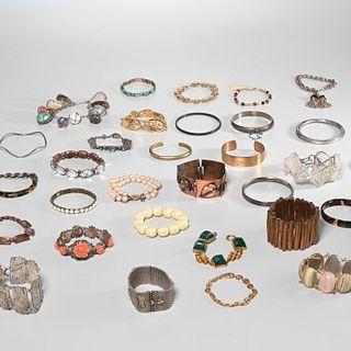 Group vintage bracelets, incl. sterling & signed