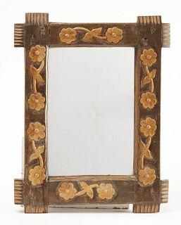 Carved Folk Art Mirror