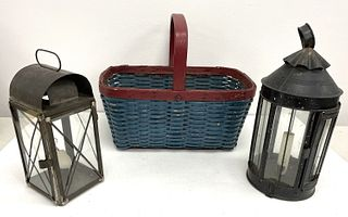 Painted Basted and Two Early Tin Lanterns