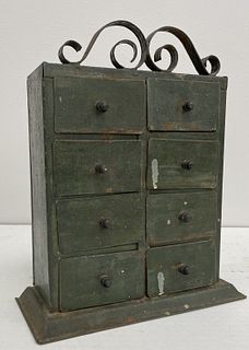 Tin Spice Chest in Original Paint