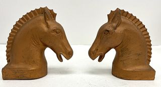 Pair of Cast Iron Horse Head Hitching Post Tops