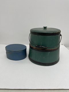 Painted Covered Firkin and Oval Box