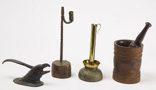 Early Metals and Woodenware Lot