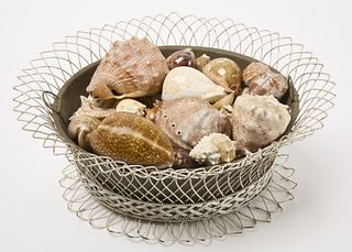Vctorian Wire Basket with Sea Shells