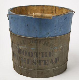 Painted Maple Sap Bucket & Hooked Rug