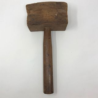 Antique wooden block hammer fitted wooden handle, one