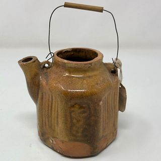 OLD ORIENTAL TEA POT w wire and wood handle