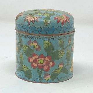 Antique Chinese cloisonn̩ round box with lid 3 x 3