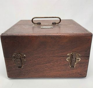 20th Cent Surveyors Kit wood case brass fittings handle