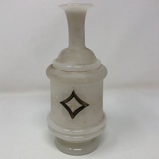 VINTAGE depression milk glass vase with hand painted