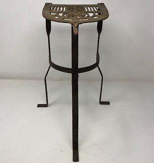 Antique Brass/ Cast Iron Food Warmer Trivet