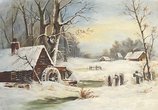 Winter remote scenery oil painting on canvas