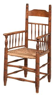 Early Virginia Turned and Rush Seat Armchair
