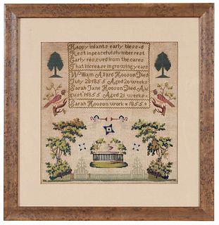 Signed 1855 Memorial Sampler