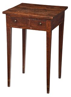 Fine Southern Federal Walnut One Drawer Table