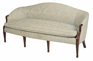Hepplewhite Style Upholstered Mahogany Sofa