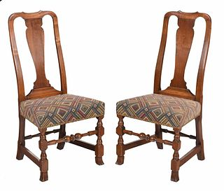 Pair American Queen Anne Side Chairs