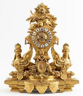 Monumental Louis XVI Style Gilt Bronze Clock