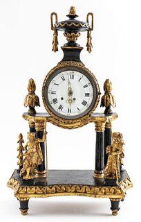 Continental Parcel Ebonized Giltwood Mantel Clock