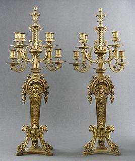 Italian Renaissance Revival Bronze Candelabra, Pr