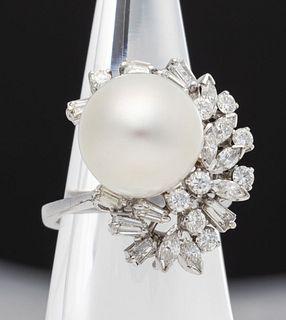 18K Gold 12.7 mm South Sea Pearl & Diamond Ring