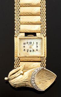 Lady's 14K Gold & Diamond Surprise Watch Bracelet